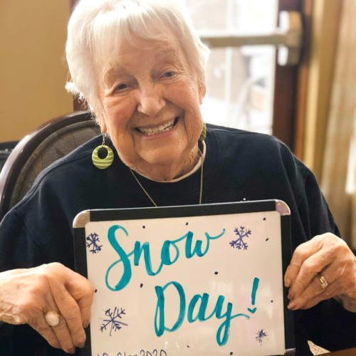 Celebrating a snow day at The Oxford Grand Assisted Living & Memory Care in Wichita, Kansas