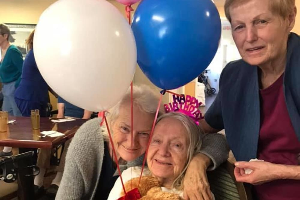 Residents celebrating a birthday at Spring Oaks in Brooksville, Florida