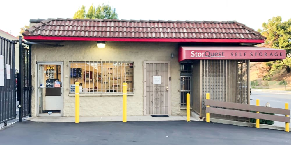 Exterior of the main entrance at StorQuest Self Storage in Los Angeles, California