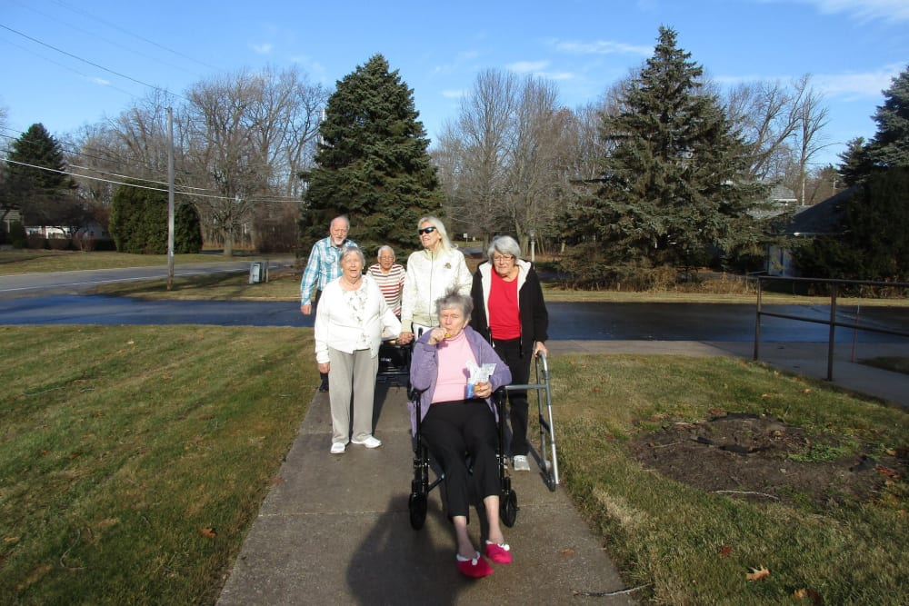 Residents out for a stroll at The Woods of Caledonia in Racine, Wisconsin