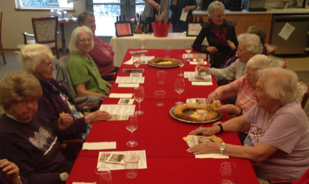 Residents gather for a meal together at Heritage Heights in Chelan, Washington