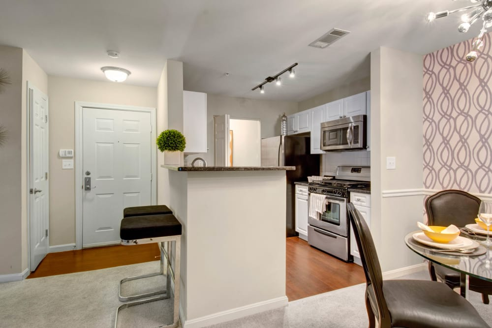 Kitchen with a kitchen island at Ellington Metro West in Westborough, Massachusetts
