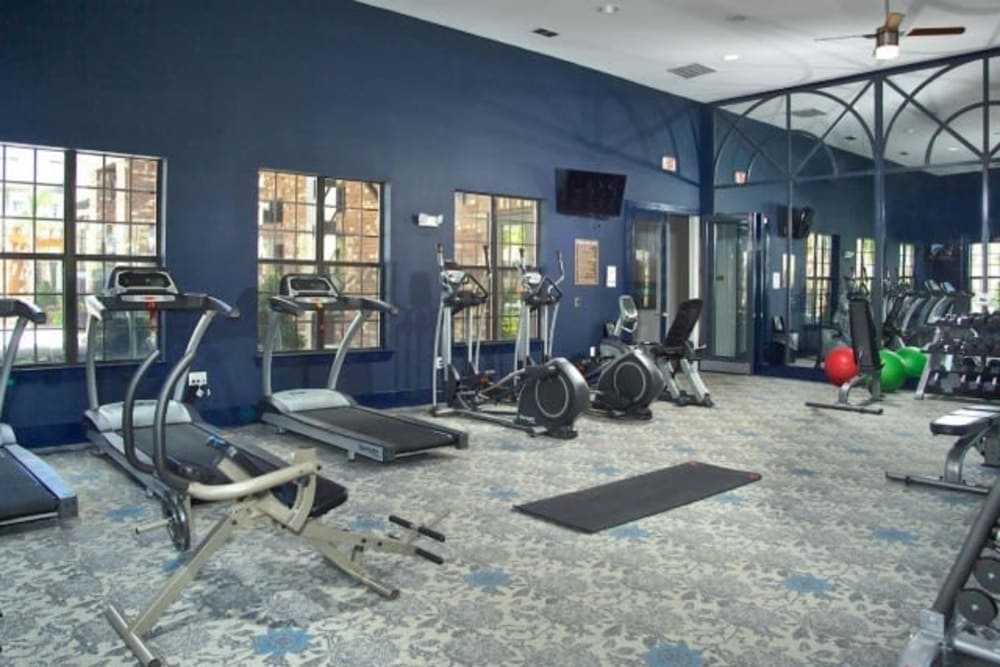 Cardio machines in the fitness center at The Hawthorne in Jacksonville, Florida