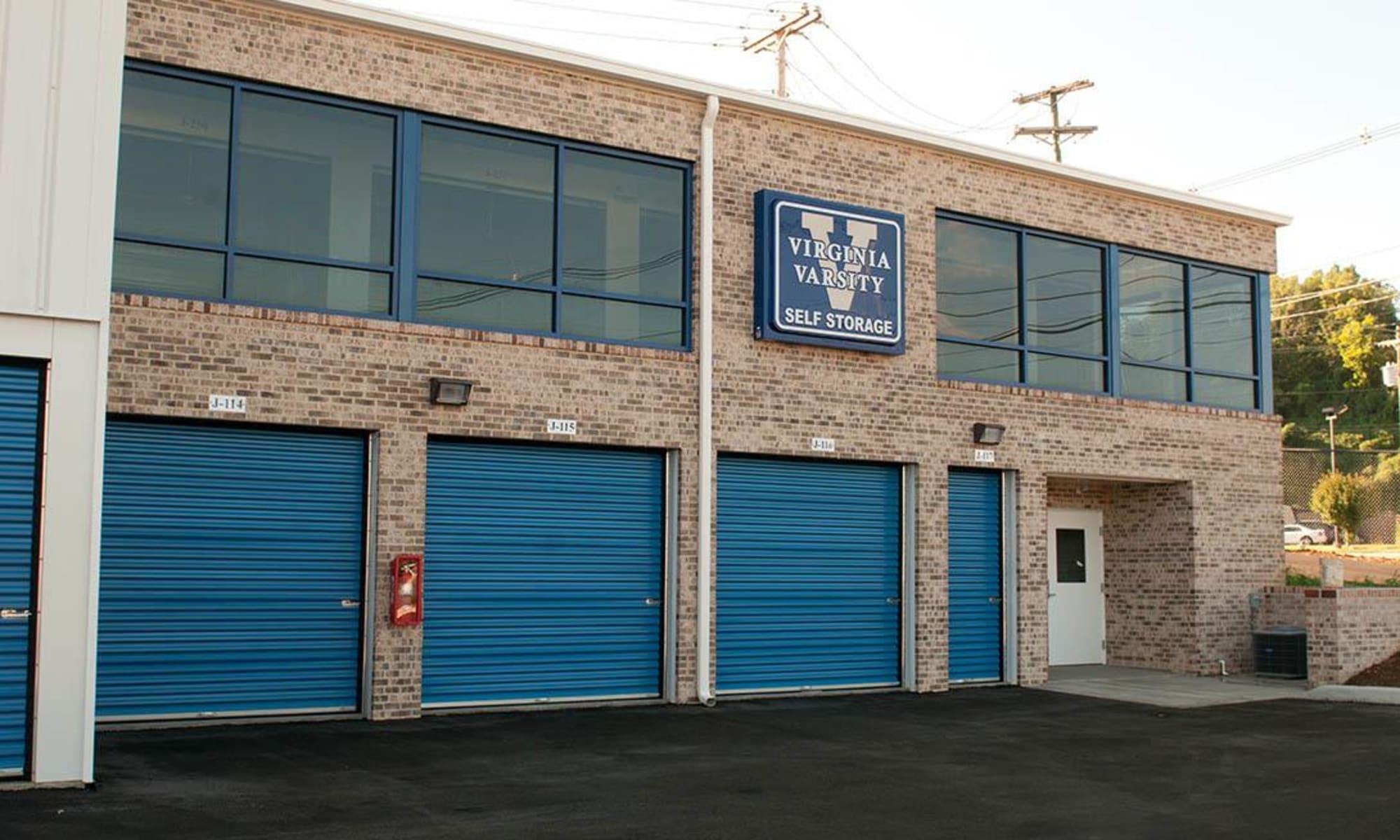 Some exterior self storage units at Virginia Varsity Storage in Salem, Virginia