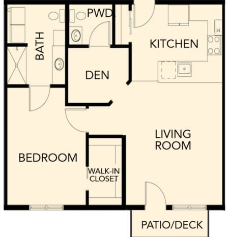 Independent Living one bedroom plus den suite at The Palisades at Broadmoor Park in Colorado Springs, Colorado