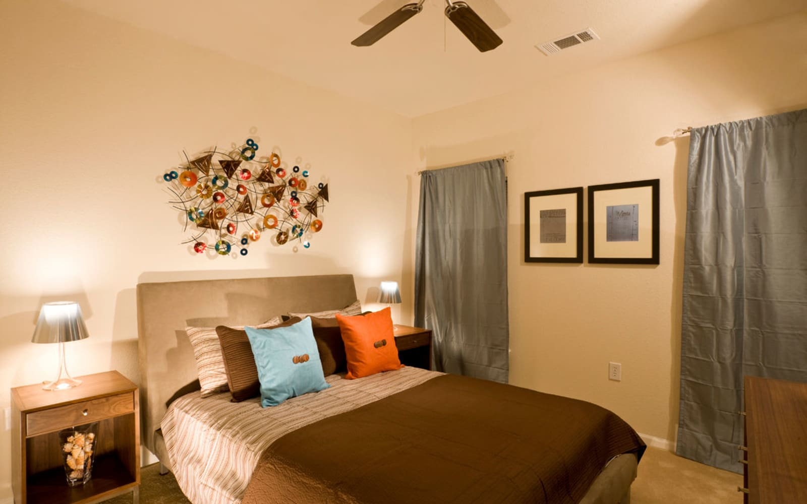 Large resident bedrooms with ceiling fans at Plantation Crossing in Lafayette, Louisiana.