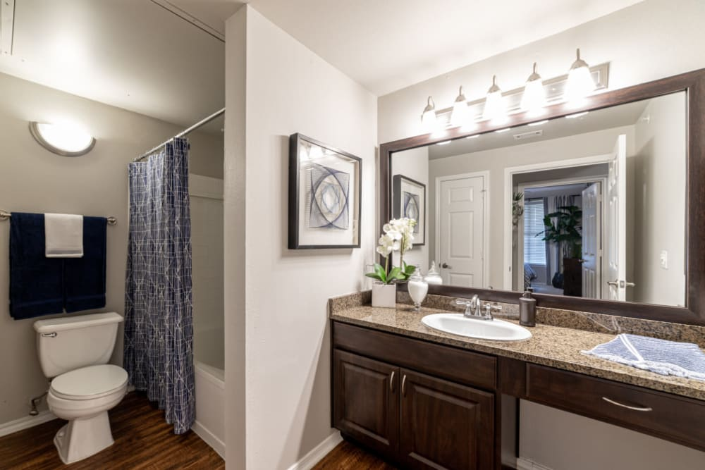 Spacious and bright bathroom with full bathtub at Marquis at Bellaire Ranch in Fort Worth, Texas