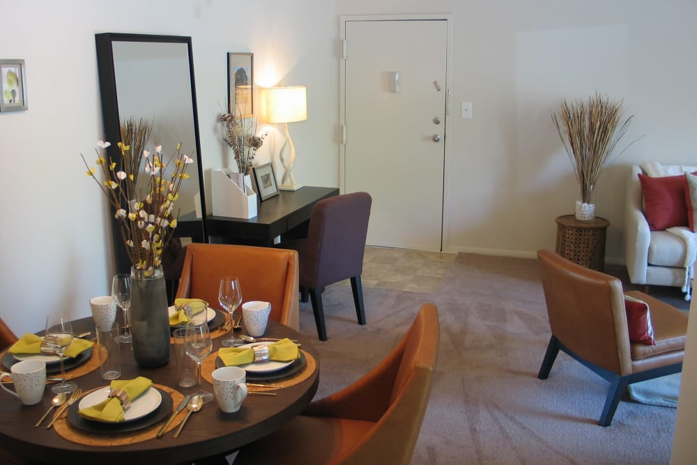 Beautiful living room at Commons at White Marsh Apartments in Middle River, Maryland