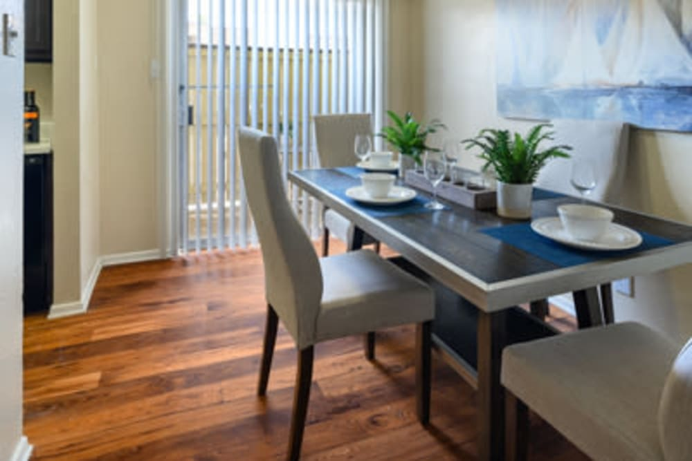 Model dining area at The Manchester Apartments in Euless, Texas