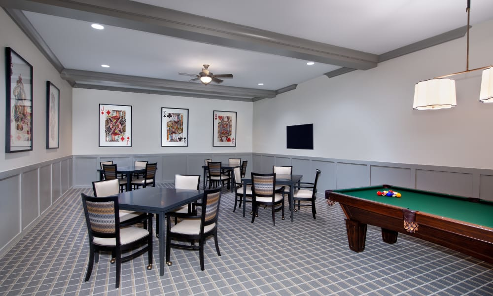 Billiards table in the game room at Keystone Place at Naples Preserve in Naples, Florida
