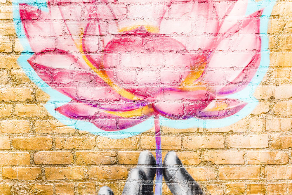 Flower painted on a wall