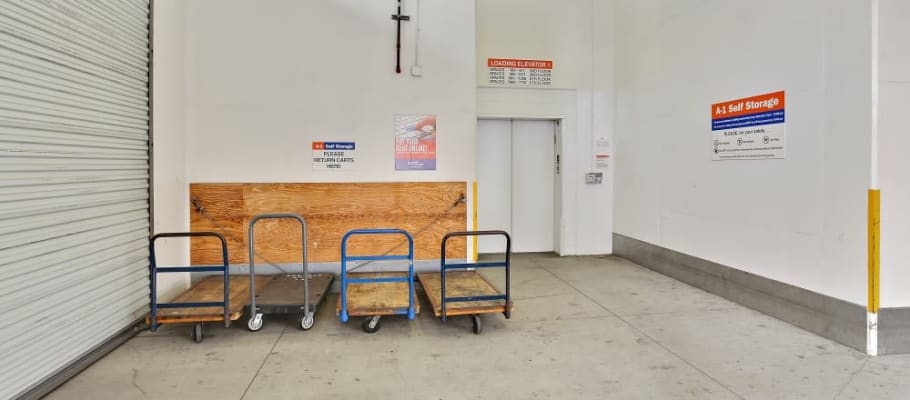 Carts and an elevator make storage and moving easy at A-1 Self Storage in San Diego, California