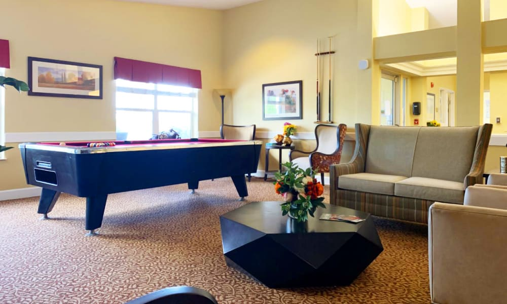 Pool table at Lassen House Senior Living in Red Bluff, California