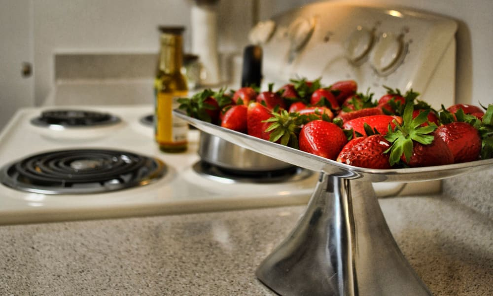 Delicious strawberries in the kitchen at Double Tree Apartments in El Paso, Texas