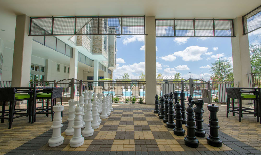 outdoor chess at GreenVue Apartments