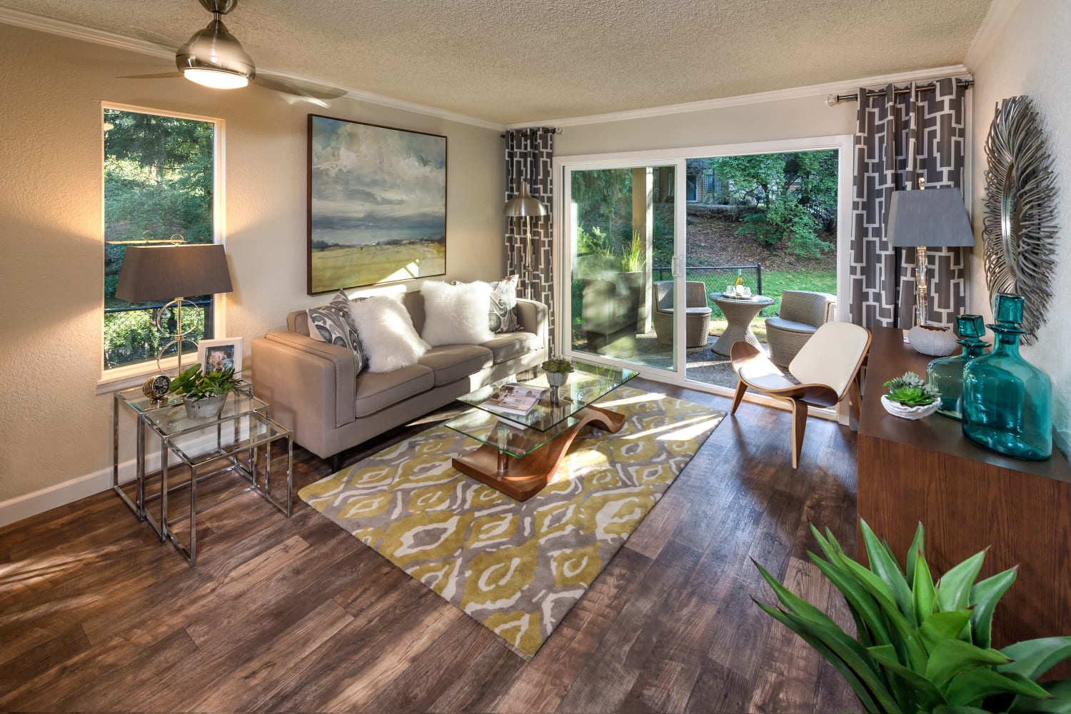 Well appointed living room at Vue Kirkland Apartments in Kirkland, Washington