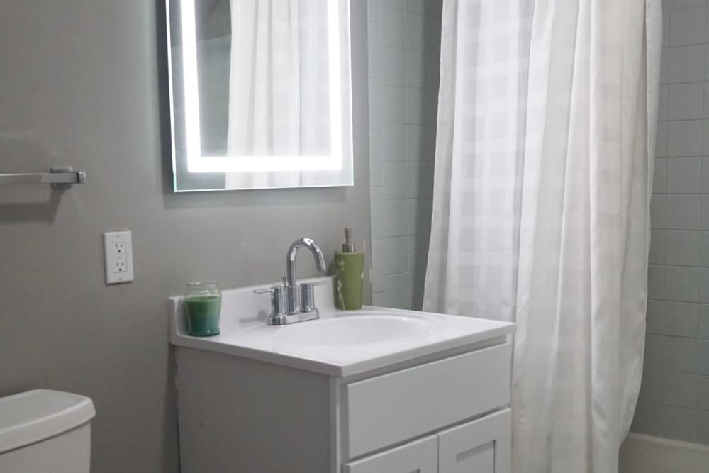 Lit vanity mirror in bathroom at Element 250 in Hartford, Connecticut