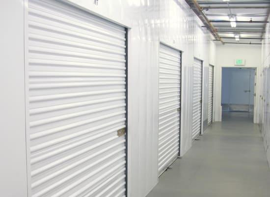 Clean hallways through self storage units at A-1 Self Storage in National City, California