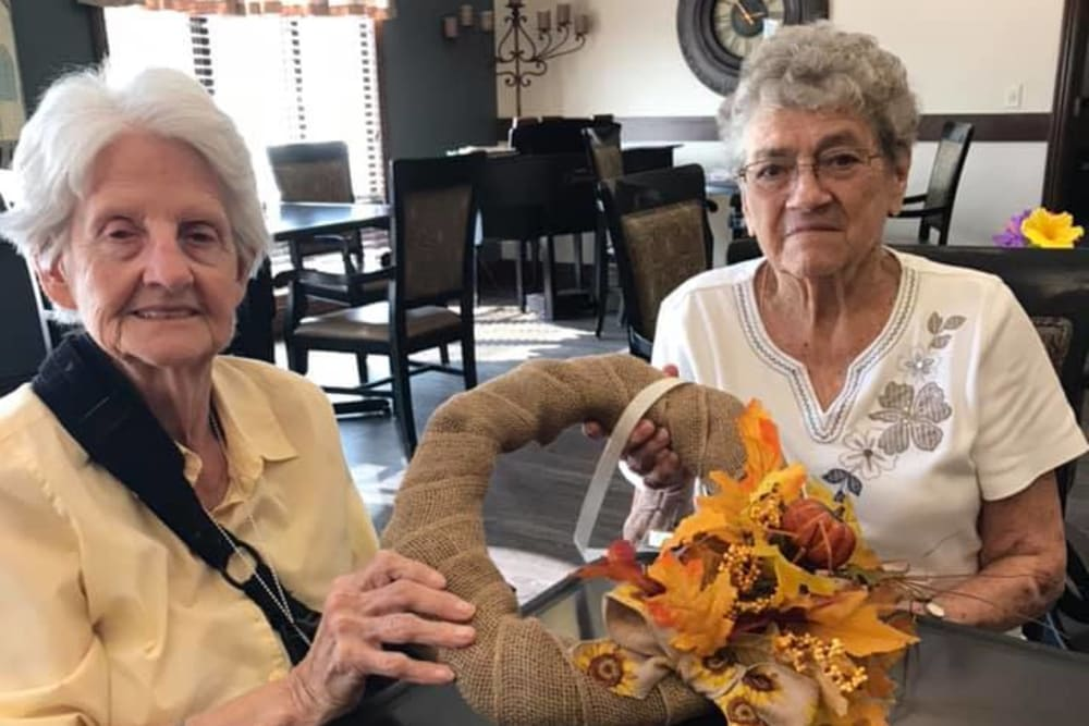 Residents making wreaths at Villas of Holly Brook Marshall in Marshall, Illinois