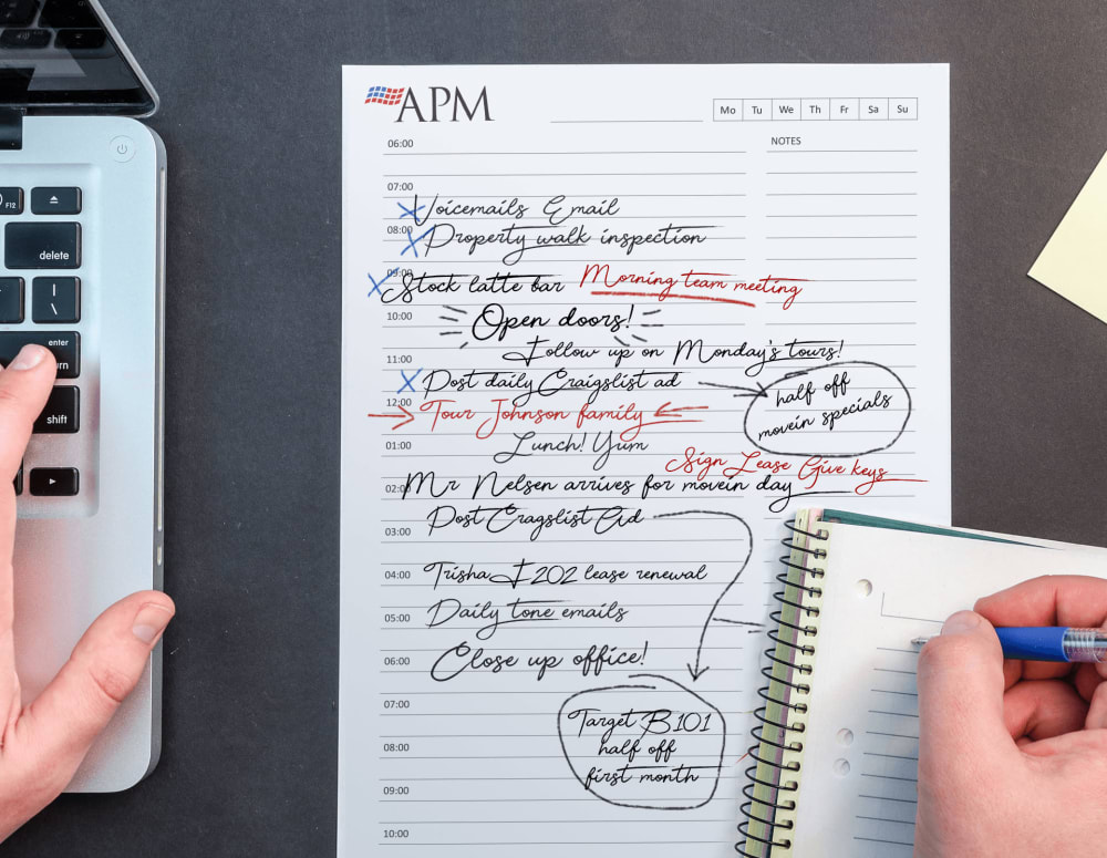 A view of a leasing agent's day planner at a community managed by American Property Management in Bellevue, Washington