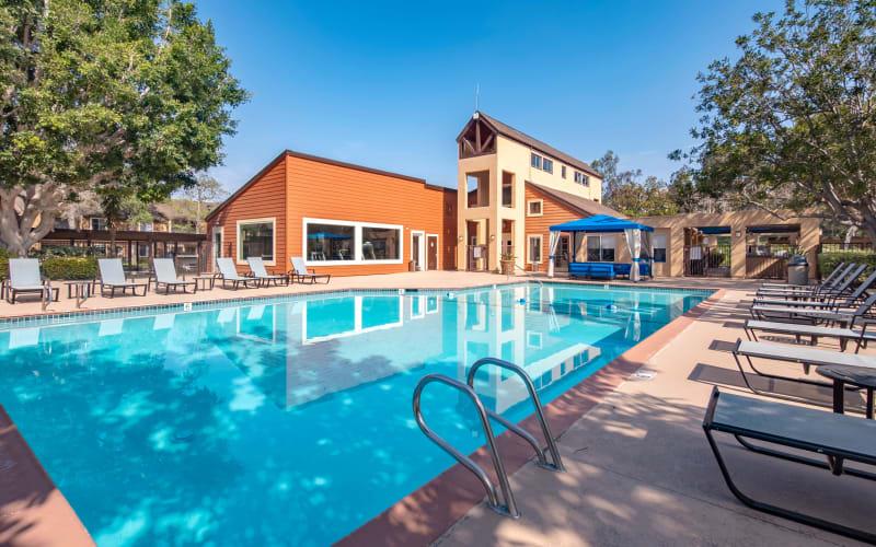 The swimming pool on a sunny day at Terra Nova Villas in Chula Vista, California