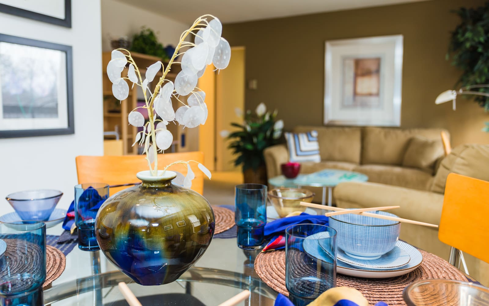 View from the dining room table at Fairmont Park Apartments in Farmington Hills, Michigan