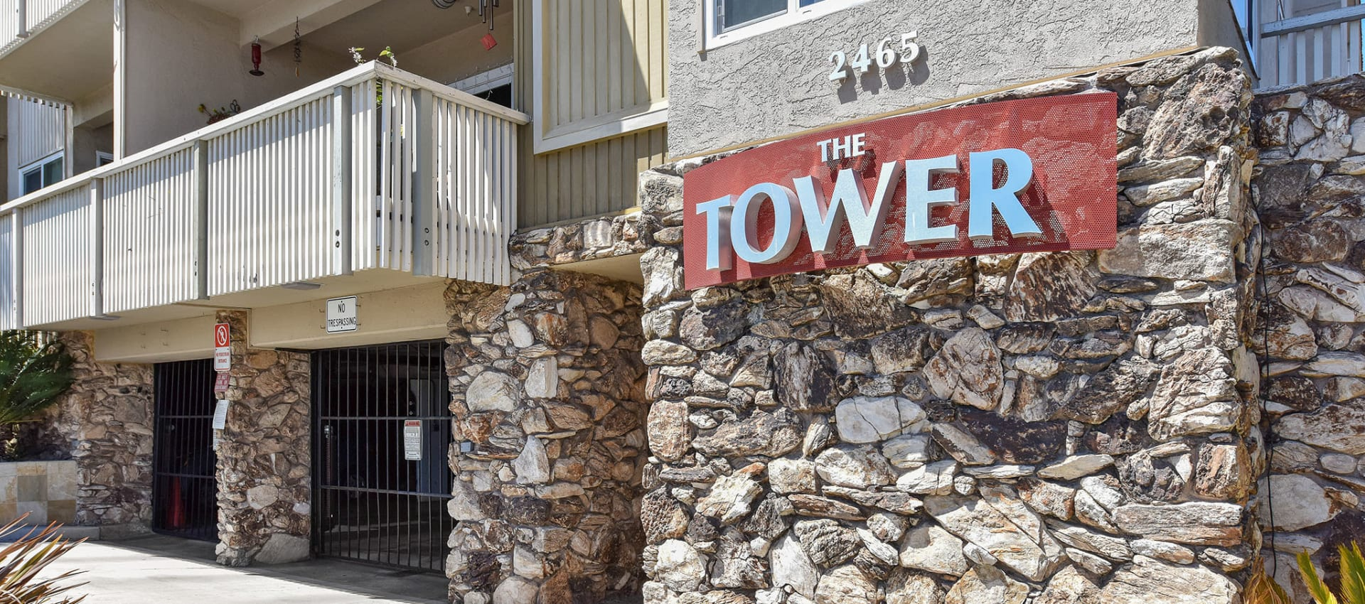The Tower sign at apartments in Alameda, CA