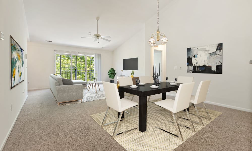 Spacious dining room and living room at CiderMill Village