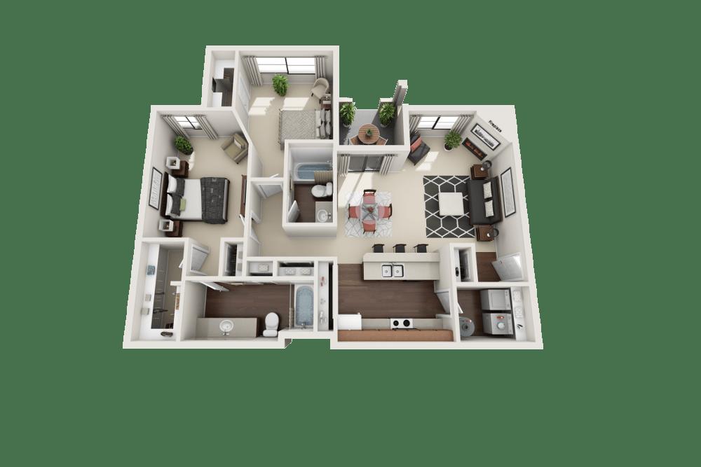 Emerald floor plan at Ventana Canyon Apartments in Albuquerque, NM