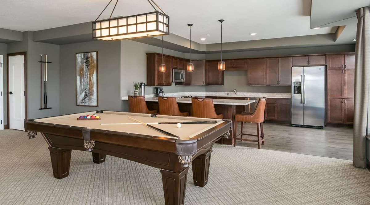 Game room at Applewood Pointe of Apple Valley in Apple Valley, Minnesota.