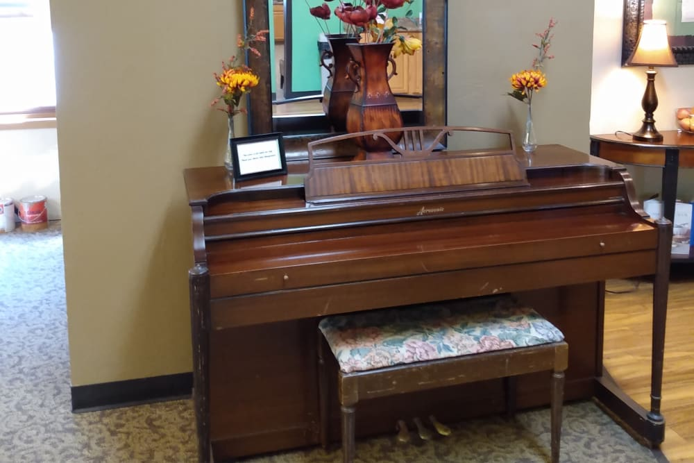 Piano in the common area at Marla Vista in Green Bay, Wisconsin.