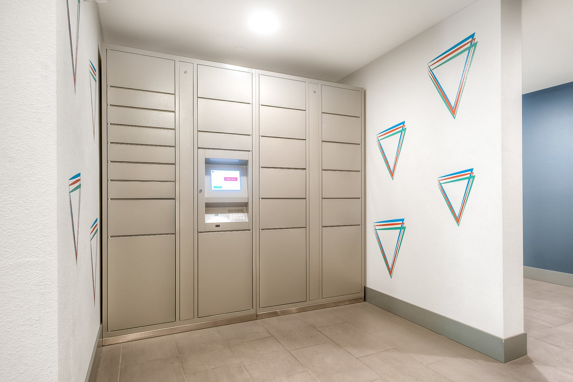 The convenient package locker at Tria Apartments in Newcastle, Washington