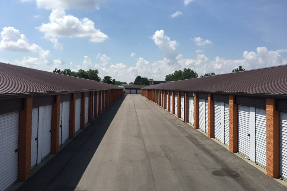 A wide driveway between storage units at StayLock Storage in Fort Wayne, Indiana