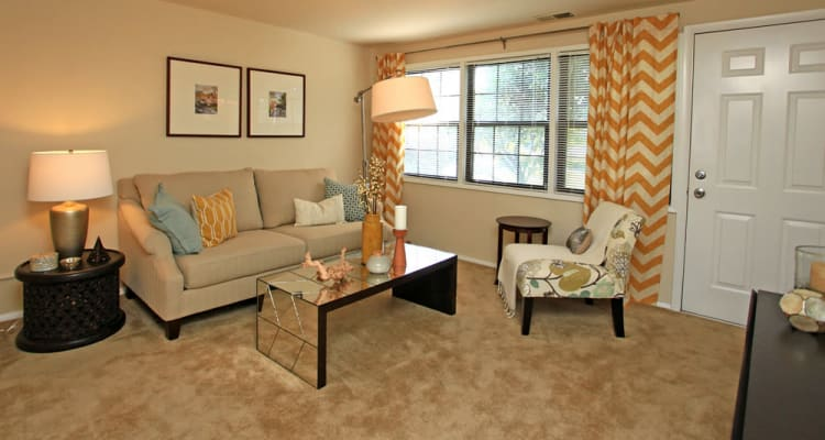Beautiful living room at Riverview Townhomes in Halethorpe, MD