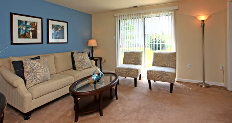 Modern living room at Whispering Woods in Middle River, MD