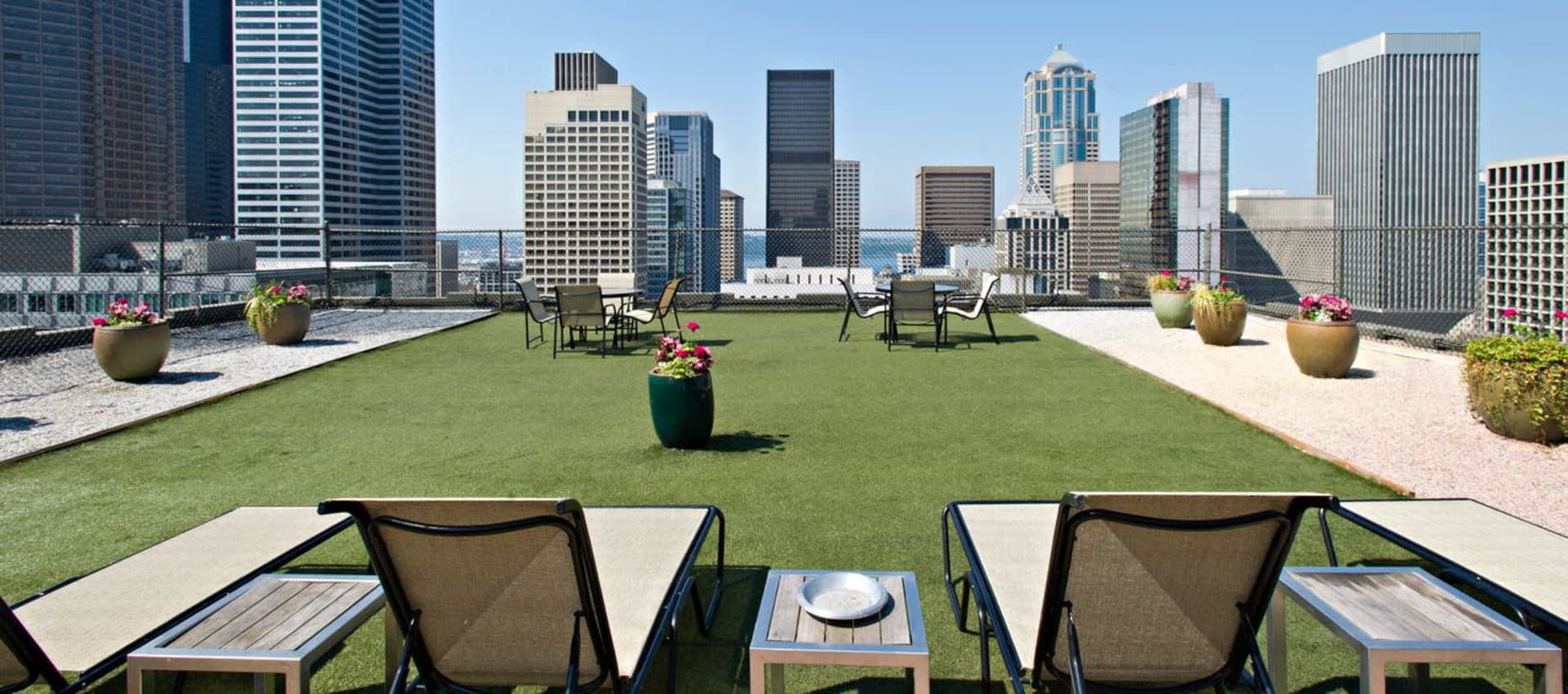 Rooftop deck on a sunny day at The Mill at First Hill in Seattle, Washington