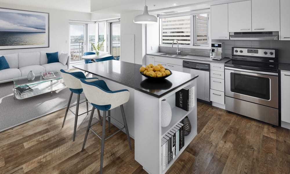 Beautiful living room and kitchen at 19Twenty Apartments in Halifax, Nova Scotia