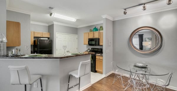 Spacious kitchen with tall chairs in model apartment home at Palms at World Gateway in Orlando, Florida