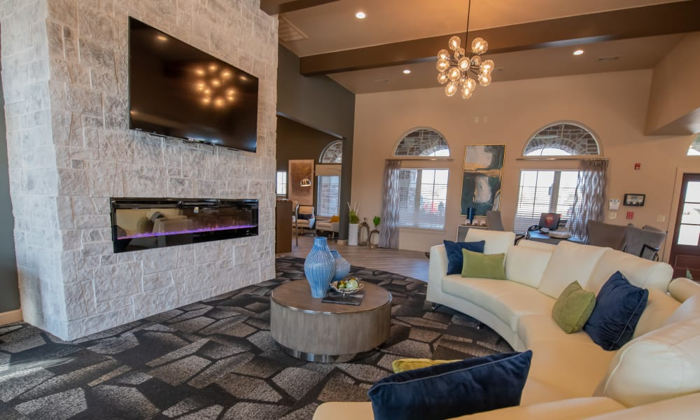 Luxury clubhouse for residents at Portico at Friars Creek Apartments in Temple, Texas