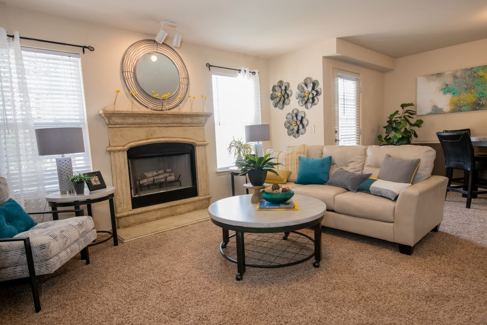 Bright living room at Park at Mission Hills in Broken Arrow, Oklahoma