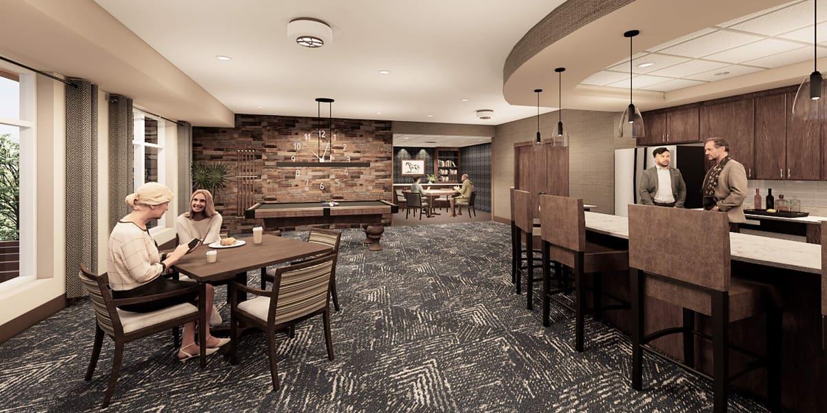 Bar and lounge at Applewood Pointe of Eden Prairie in Eden Prairie, Minnesota