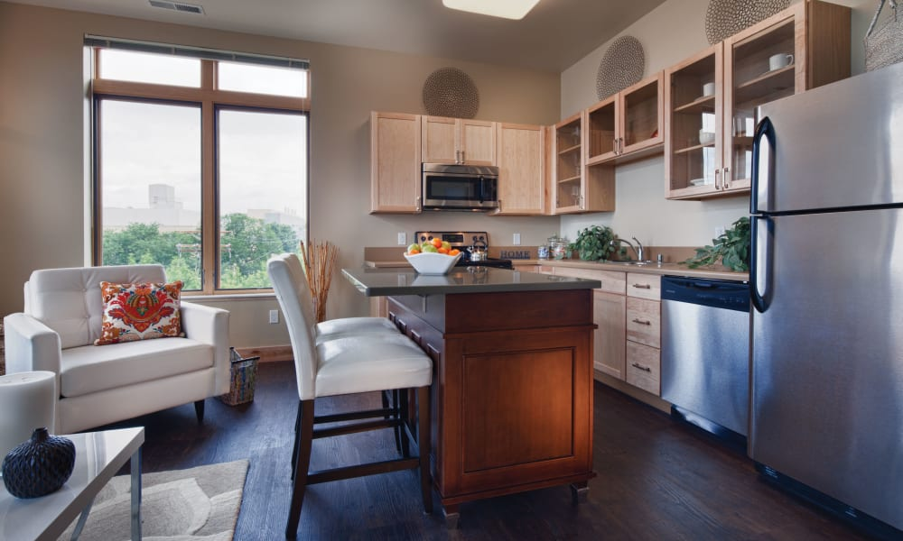 Bright kitchen at Keystone Apartments in Madison, Wisconsin