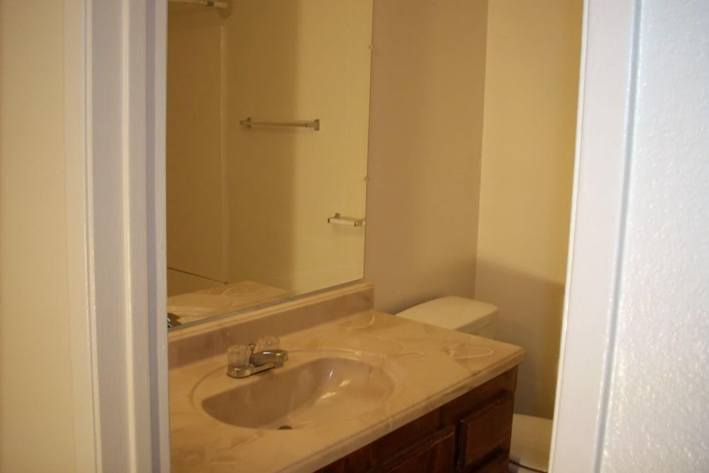 Model bathroom at El Potrero Apartments in Bakersfield, California