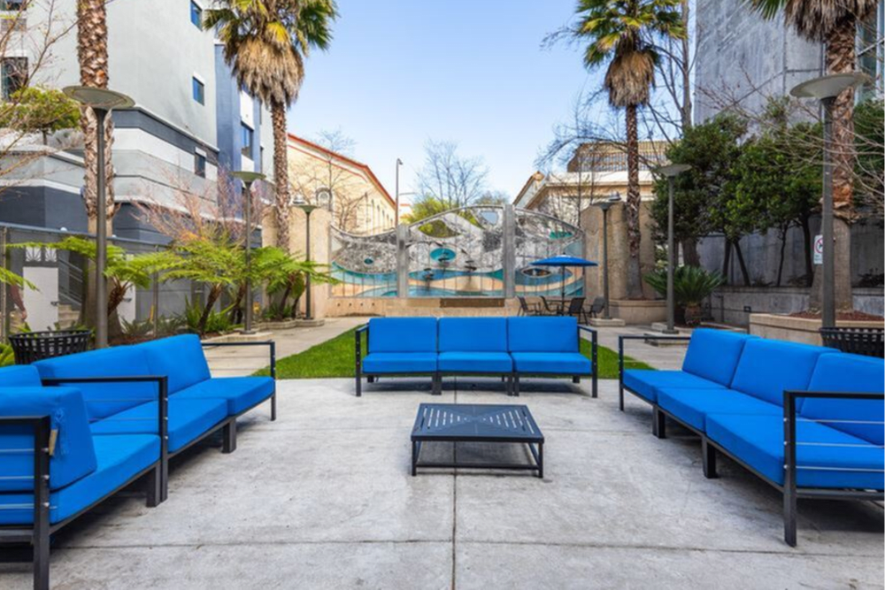 Seating for you in the courtyard at K Street Flats Apartment Homes in Berkeley, California