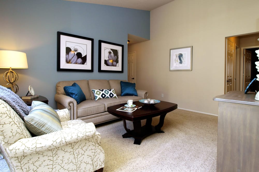 Spacious living room at Deer Valley Apartment Homes in Roseville, California