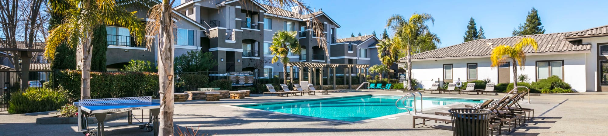 Floor plans with a refreshing outdoor pool at Miramonte and Trovas in Sacramento, California