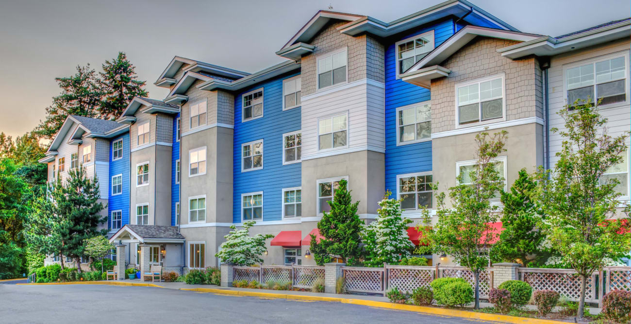 Front of building at The Creekside in Woodinville, Washington