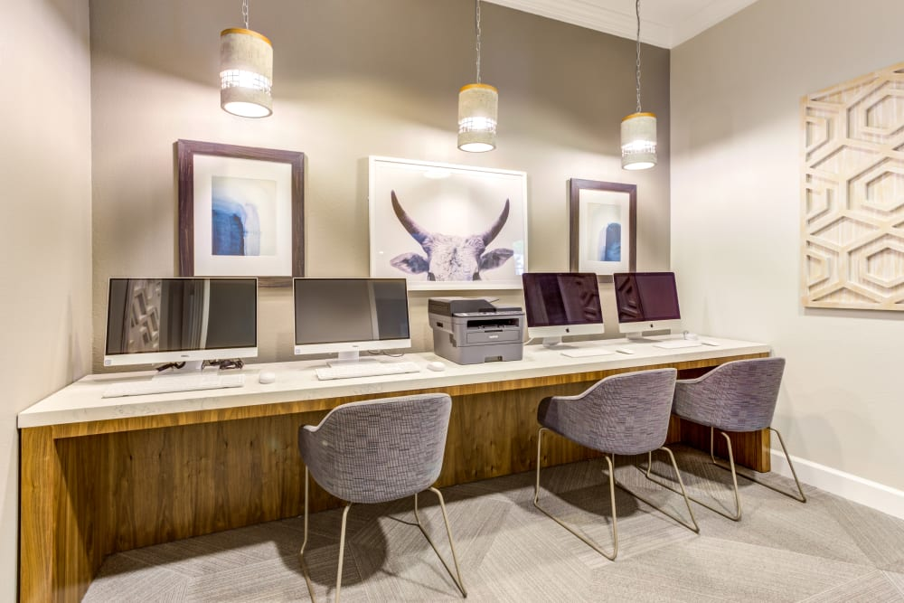 Business center with computers for resident use at Sofi Westview in San Diego, California