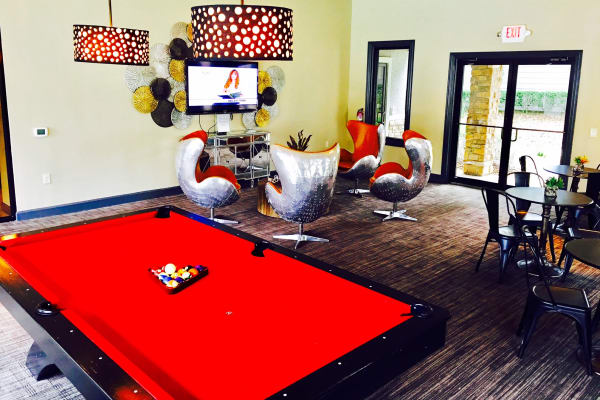 Game room in the clubhouse at Hyde Park at Lake Wyndemere in The Woodlands, TX
