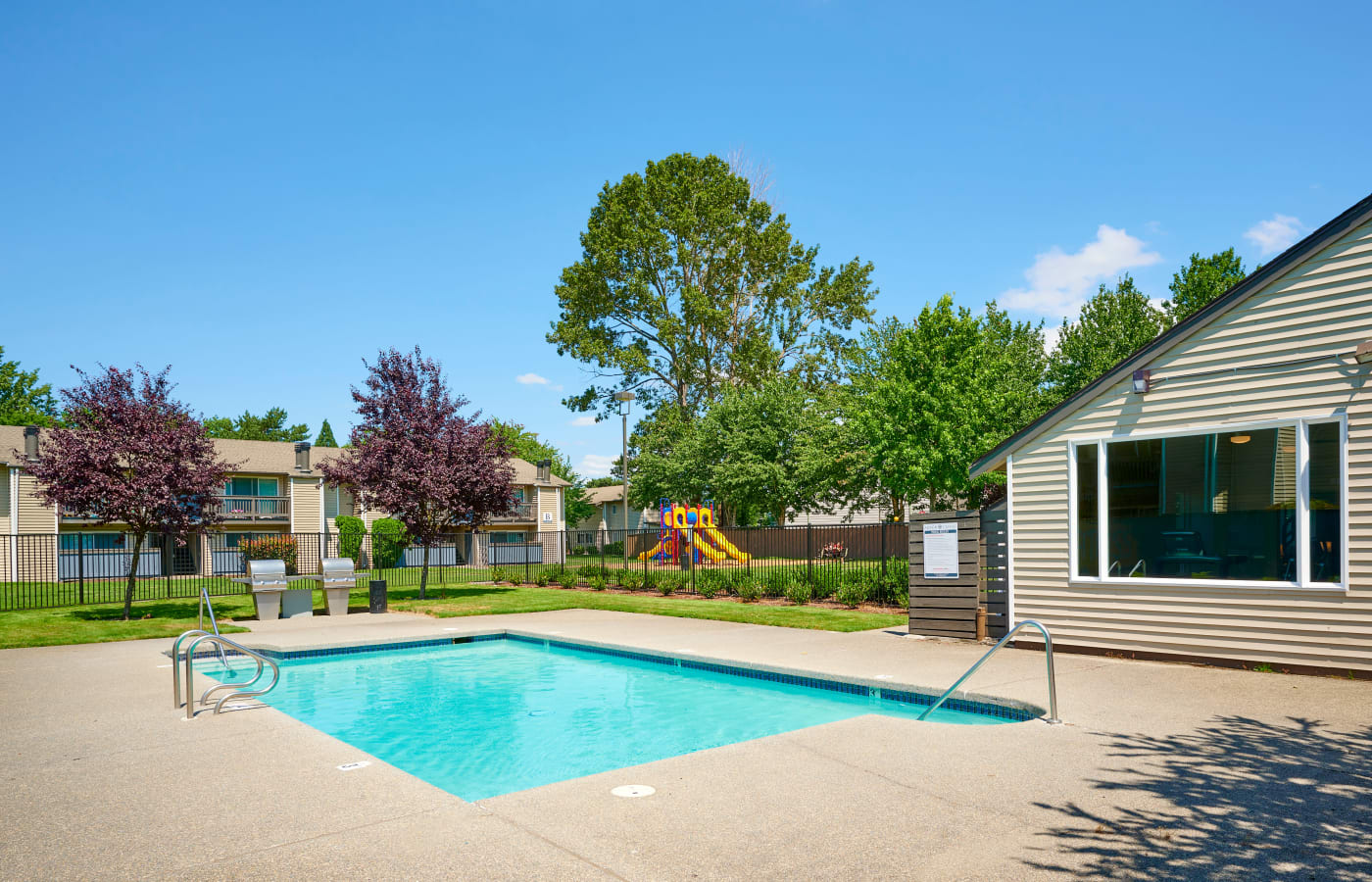 Pool area at Arbor Chase Apartment Homes in Kent, Washington